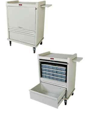 7 cm) patient bin drawers in single removable cassette; bin dividers and labels are included Fold-up door provides secure access to medication and conceals patient bin