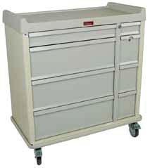 Carts feature secure locking systems, separately locking narcotic boxes, and specialized dividers