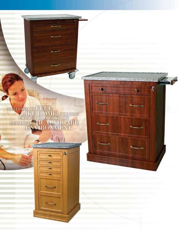 WOOD-LOOK CARTS & CABINETS More and more hospitals want the warmer appearance of wood for storage of medical equipment and supplies.