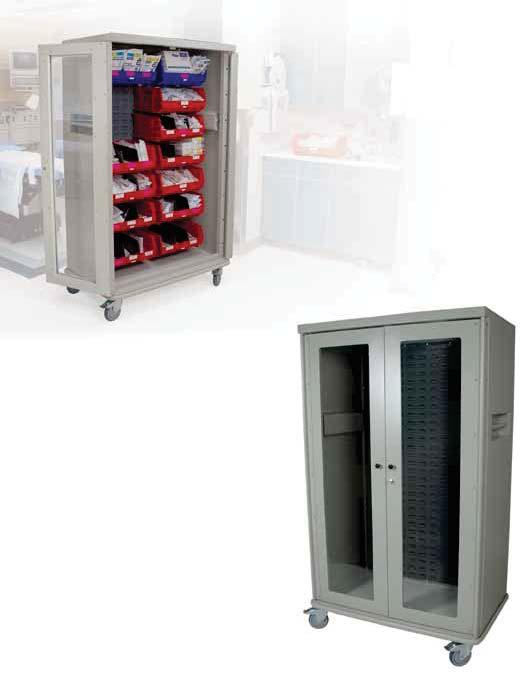MEDICAL STORAGE & INVENTORY SOLUTIONS VISUAL BIN STORAGE CARTS Locate Supplies with Ease Harloff s Visual Bin Storage Cart is designed to hold a mixed assortment of storage bins in a secured,