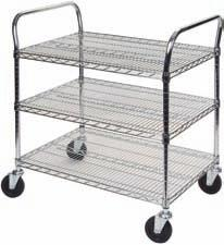 "STANDARD DUTY UTILITY CARTS A durable, dependable transport solution that s easy to maneuver Highly rigid construction lets you easily adjust at 1"" increments Durable chrome plated handles, shelves"