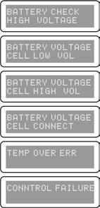 Warning and error information The battery s voltage is higher than the value set in the charger. Please check the number of cells in the battery pack.