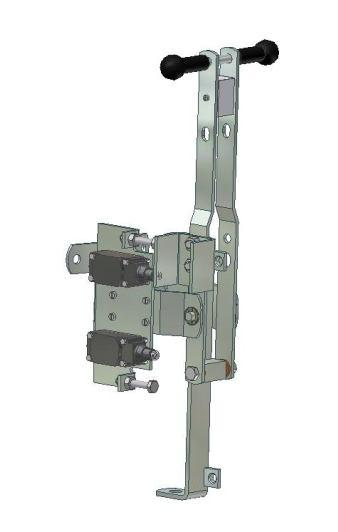 leads between the pole bracket and handle ***) Handoperating mechanism with