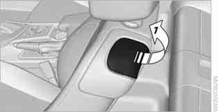 Seat with manual longitudinal adjustment 1. Pull lever 1 and swing the backrest forward. 2. Press the front end 2 of the switch until the seat has moved into the desired position.