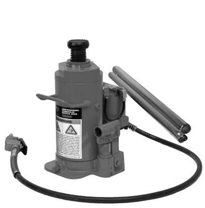Safety overload valve prevents jack from being used beyond its rated capacity. 504 MODEL 76320A 20 Ton Air Actuated Hydraulic Bottle Jack List 447 305 10.875 min. height, 20.5 max height. with 6.