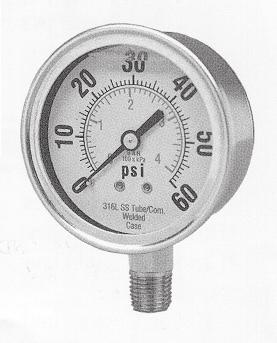 GAUGES LIQUID (GLYCERIN) FILLED GAUGES SSC s glycerin filled gauges are good for applications where there is a lot of movement.