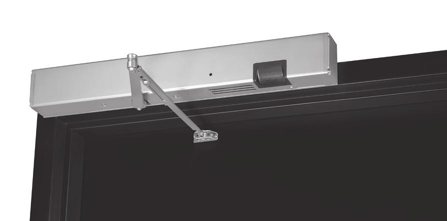 "PUSH SIDE Surface mounted to the push (stop) frame face Double lever arm mounts directly to the door Minimum 3-1/2"" (89mm) ceiling clearance required Handed Standard units accommodate doors opening"