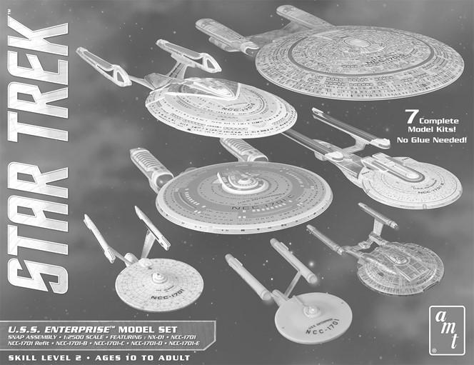 89 763 Cadet Series (TOS) Era Ship (3 snap kits - USS Enterprise NCC-1701, Klingon D-7 Battle Cruiser, & Romulan Bird of Prey) (1/2500 sc) 16.