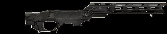 Open Top Magpul PRS Stock Allows optic to be mounted directly on the action using traditional scope bases, Picatinny rail or built-in action rail. Adjustable length of pull and cheekpiece.