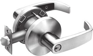 Outside lever rigid at all times. : Latchbolt by either lever unless outside lever is locked by push/turn button in inside lever. Turn button must be released manually.