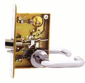 : Latchbolt by either knob unless outside knob is locked by push/turn button in inside knob. Turn button must be released manually.
