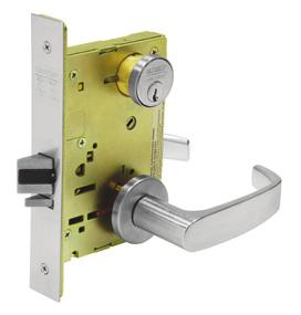 Lever/knob outside is locked/unlocked by thumb turn inside or by key outside. Classroom: Key outside locks and unlocks lever/knob outside. Key outside retracts latchbolt.