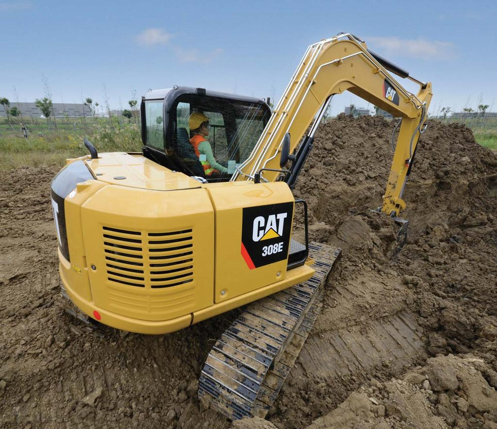 308E Mini Hydraulic Excavator Engine Weights Engine Model Cat C3.3 DI Turbo Operating Weight Standard Stick 7160 kg Net Power @ 2,400 rpm 46.