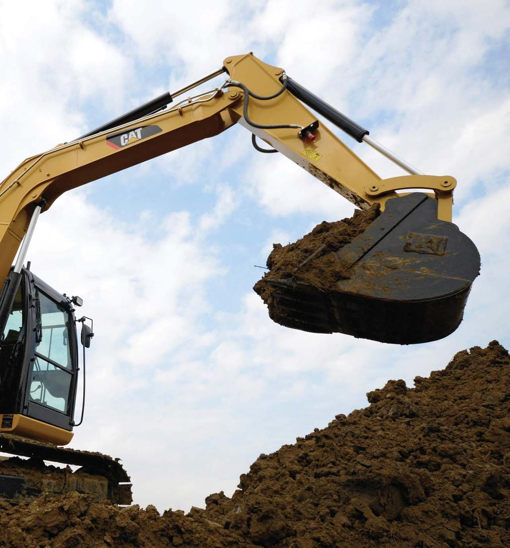 The Cat 308E Mini Hydraulic Excavator delivers superior performance and comfort while reducing your fuel consumption and operating costs. The large spacious cab provides a comfortable work area.