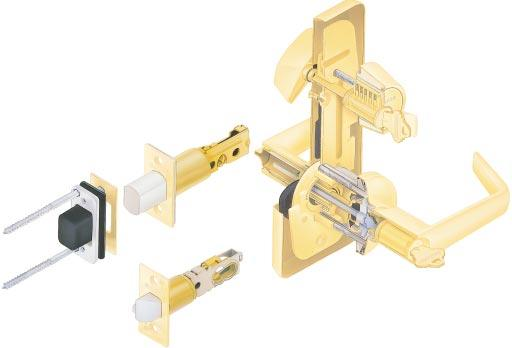 Application Multi-family dwellings, hotel/motel, office and light duty commercial use. Performance Features Simultaneous retraction of deadbolt and latch for single-motion egress.