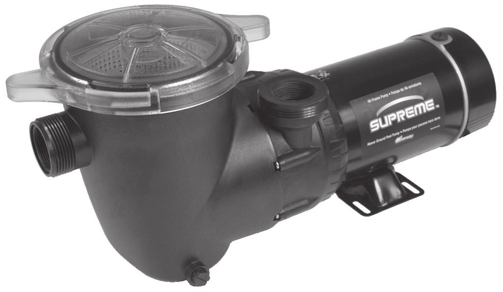"- Above Ground / Supreme - 48-Frame 1 1/2"" Union threads / 1 1/2"" FPT Intake and 2"" Union threads / 1 1/2"" FPT discharge Extra large 7"" pump trap with clear lid Powerful side discharge performance"
