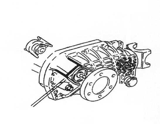 23) Locate the upper mount on front differential housing. Cut off upper mount flush to main case (Illustration 8).