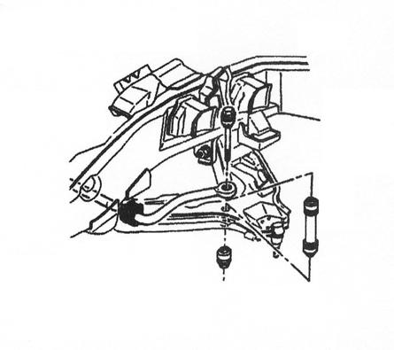 5) Remove the front shock absorbers. 6) Detach existing front bumpstops from upper mounting cup. 7) Remove anti-sway bar extensions connecting bar body to lower control arms (Illustration 3).