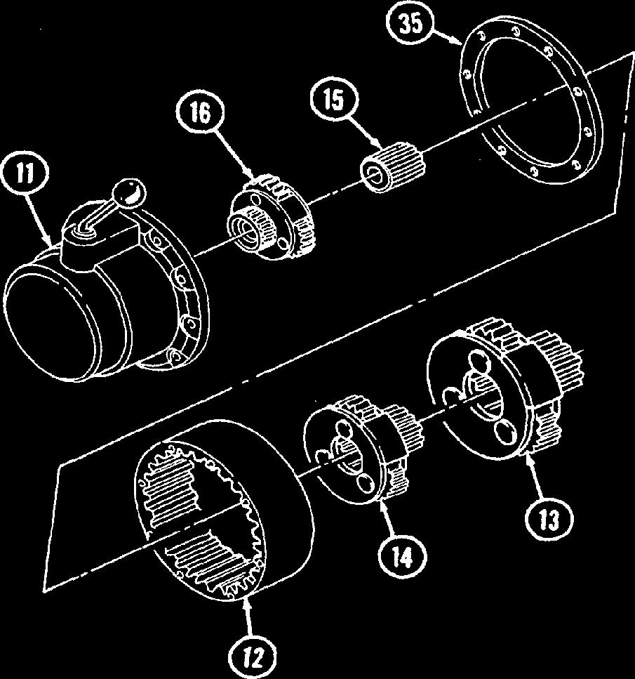d. Assembly 15-4. 9,000 LB. WINCH REPAIR 1. Position 85-87 steel balls (34) in groove of intermediate ring gear (3) and install intermediate ring gear (3) in gear housing (11).