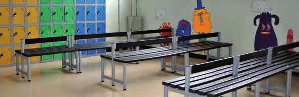 durability. Single benches are 1600mm overall hook height and 400mm seat height. Lower heights are available.