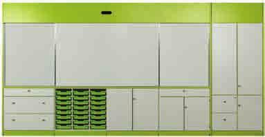 storage and incorporating an optional interactive whiteboard or drywipe boards into one convenient area, allowing walls to be