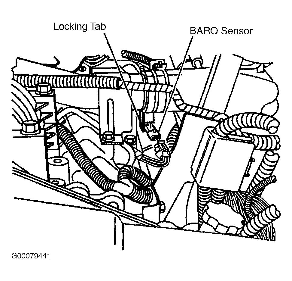 ENGINE CONTROLS - REMOVAL, OVERHAUL & INSTALLATION - 6.6L DIESEL... Page 3 of 41 Pull the BARO sensor downward to remove it from the bracket. To install, reverse removal procedure. Fig.