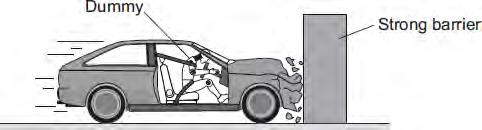 At the point of collision, the car exerts a force of 5000 N on the barrier.