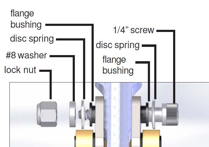 48. Insert a 1/4 disc spring onto the 1/4 shoulder screw and slide it through one end of the links.