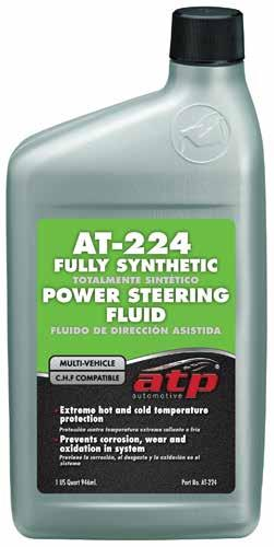 AT-224 Multi Vehicle Power Steering Fluid Perfect for all uses; from increasing efficiency and life of the power steering system in a daily driver, to specialty, severe-duty and high performance
