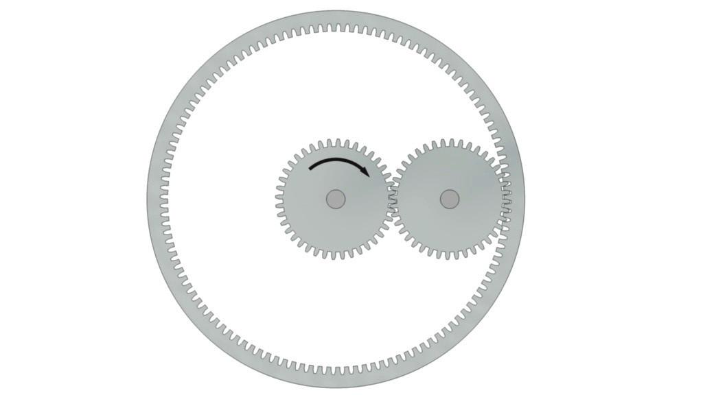 Internal gears are used to connect the crank to the winch body Seen from above the gears look like this: Figure 5 Simple Gears and Transmission