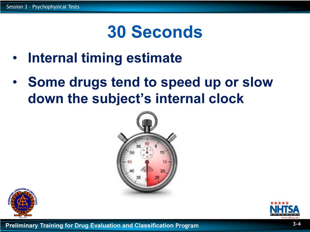 Emphasize that the DRE must not instruct the subject as to how they are to estimate the passage of 30 seconds.
