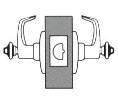 Classroom Lock Deadlocking latch bolt operated by lever from either side except when both levers are