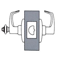 When outside lever is locked, latch bolt is operated by key in outside lever or by rotating inside