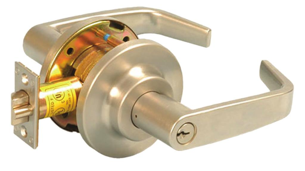 SPXCL186 F86 Storeroom Lock Deadlocking latch bolt operated by key in outside lever or rotating inside