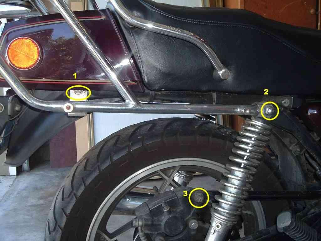 My bike has a luggage carrier which uses the rear chassis bolts (#1 usually the rear turn signal mounts).