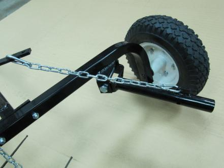 Secure rake wheel arm to the lift arm using clevis lock pin (P). See Figure 8 for rake arm position.