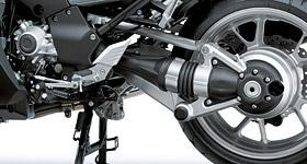 Tetra-Lever Suspension Variable Valve Timing Shaft Drive The Tetra-Lever rear suspension is supported at four points on the left and right side and mounts to Kawasaki?
