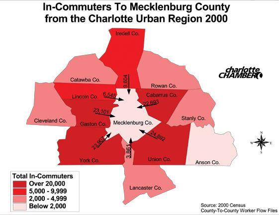 The Destination for Jobs Mecklenburg County is the major employment destination in the region.