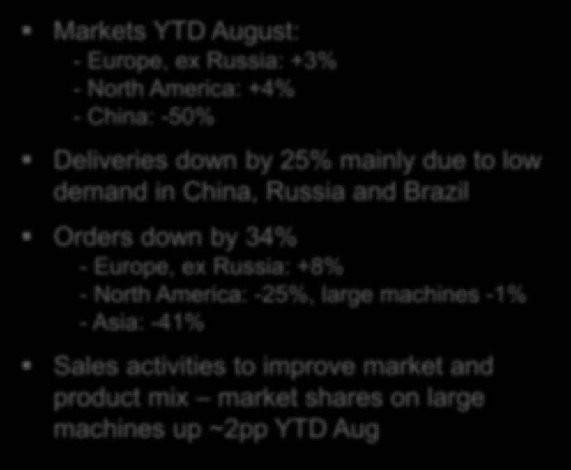 product mix market shares on large machines up ~2pp YTD Aug TOTAL MARKET Forecast Europe 2015: -10 to 0% 2016: -5% to +5% Forecast N America 2015: -5% to +5% 2016: -5% to +5% 01 02 03 04 05 06 07 08