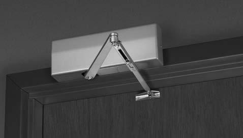 Parallel Arm Mounting DC8210 Series Allows inside application of closer on out-swinging doors.