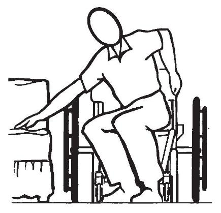 Position the wheelchair as close as possible along side the seat to which you are transferring, with the front casters parallel to it. Remove the armrest, if installed. Engage wheel locks.