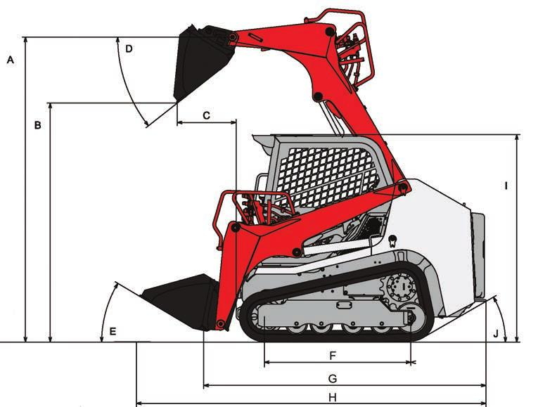 TL6R Compact Track Loader MACHINE DIMENSIONS A Maximum Lift Height to Bucket Pin 2,905