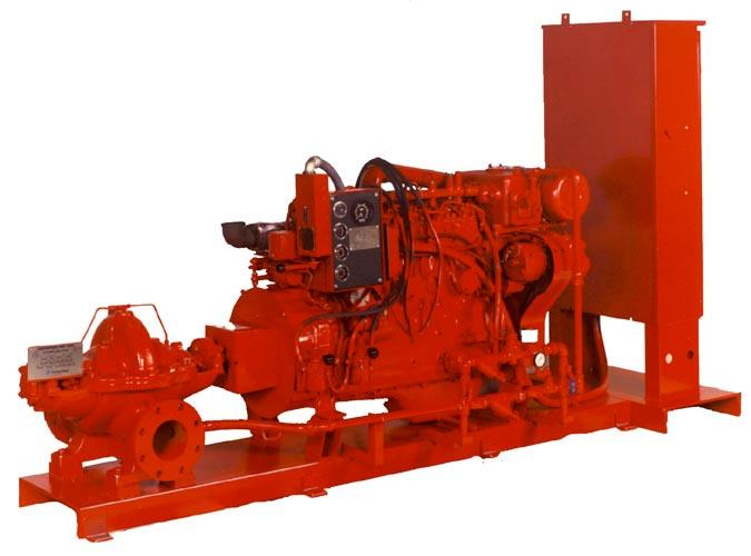 service applications. Packaged units and systems lower fire pump installation costs and offer these advantages: Pump, driver, and controller are mounted on a common base.