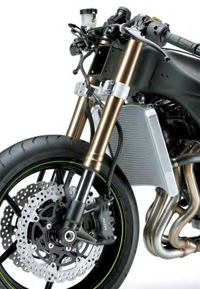 ADDITIONAL FEATURES * The front brake hose routing with a three-way joint at the lower triple-clamp facilitates bleeding air from the brake lines.