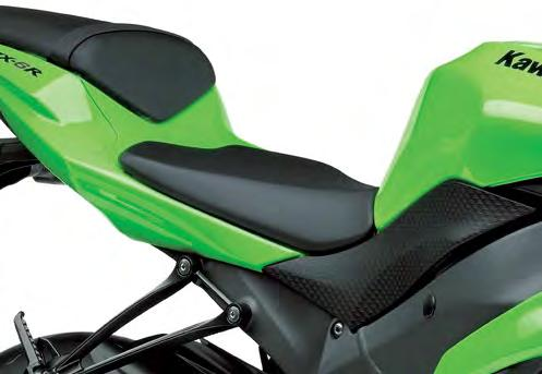 * Front to back, the new seat is shorter, allowing the rider to rest his tailbone on the rear seat step.