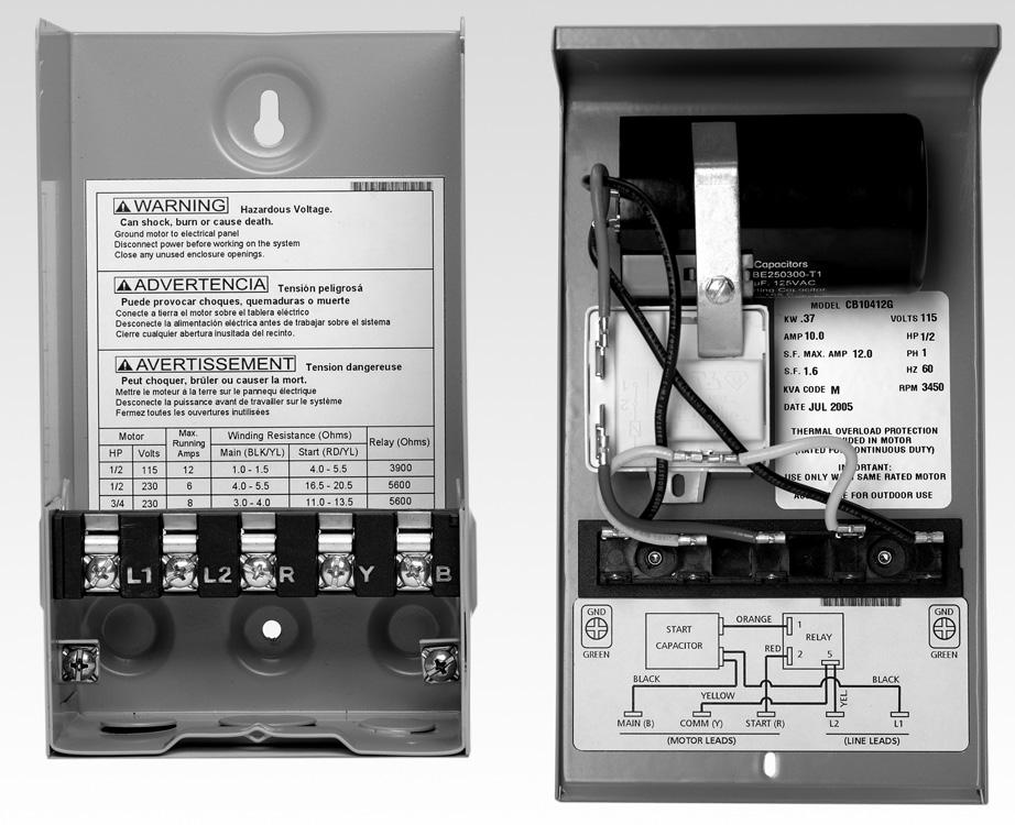 1Ø THREE-WIRE CONTROL BOX WIRING CHARTS Quick Disconnect ½ 1 HP WIRING DIAGRAM K REPAIR PARTS FOR QUICK DISCONNECT STYLE CONTROL BOXES Order Number Capacitor