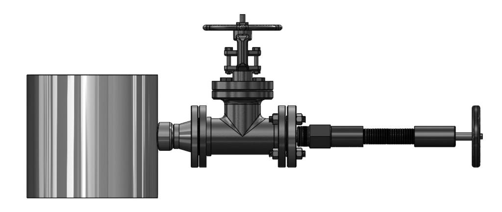 5.6 Drill Hole in Pipe With the access valve in the full open position, install an appropriate Hot Tap Drilling Machine (Figure 6) and drill a hole in the pipe (hole sizes per chart below).