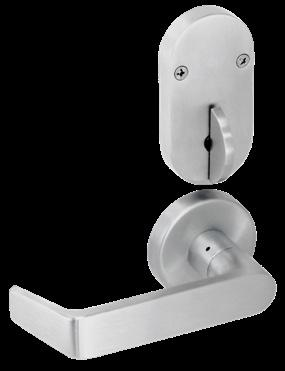 Outside knob / lever always fixed Deadbolt thrown or retracted by inside thumbturn When deadbolt is thrown, OCCUPIED plate is