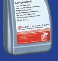 Power steering fluid (green) febi no. 21647 (1 litre) e.g. repl. no. 001 989 24 03 febi 21647 is a fully synthetic product which meets the requirements of MB 345.0. Optimised temperature resistance.