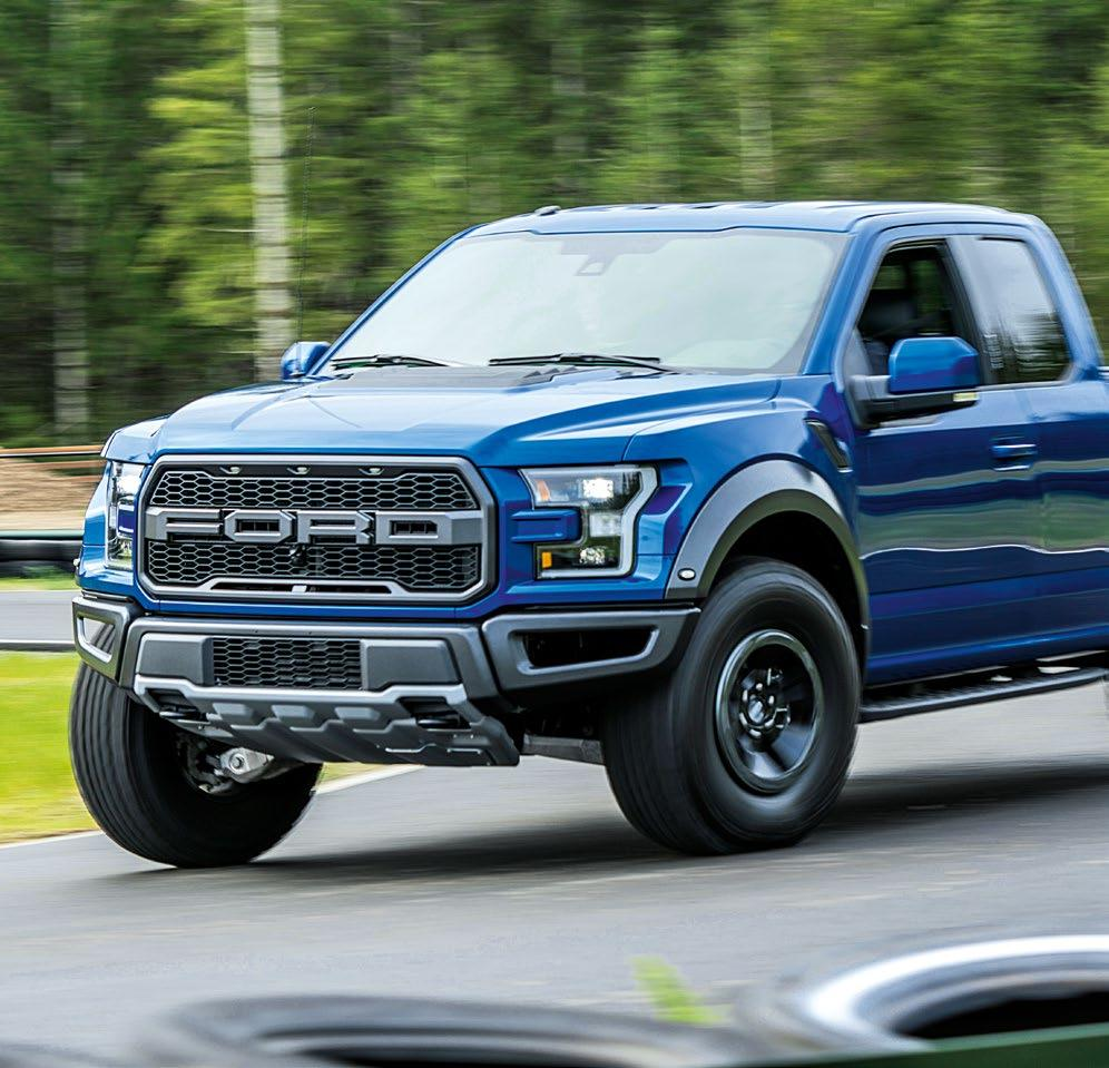 Tough design, powerful drive: The Ford F-150 Raptor is equipped with the highperformance version of the new 213 cubic inch (3.5 liter) V6 EcoBoost engine.